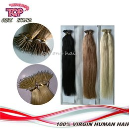 Wholesale 18 Micro Rings - Nano ring hair extensions 100 strands top quality Brazilian remy hair blond black color micro ring human hair extensions free DHL
