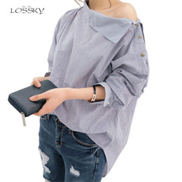 Wholesale Womens Collar Top Xs - Wholesale- 2017 Womens Striped Sexy Skew Collar Loose Full Shirts Batwing Sleeve Blouse Women Button Shirt Tops Spring And Autumn Christmas