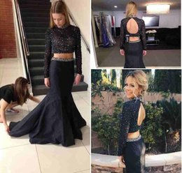 Wholesale Taffeta Mermaid Peplum Prom Dress - 2016 Black Two Pieces Prom Dresses Sparkly Beaded High Neck Long Sleeve Mermaid Skirt Evening Gowns Custom Made Formal Party Dresses