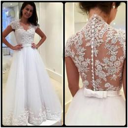 Wholesale Transparent Train Wedding Dresses - Elegant 2016 A Line Wedding Dresses Short Sleeves Lace Appliques Transparent Buttons Back Bow Sash Wedding Bridal Dresses
