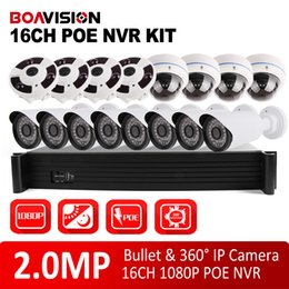 Wholesale Ip Dome Camera System - 16CH POE NVR System Kit With 2MP 1080P Security Bullet & Dome IP Camera Fisheye Full View 16 Channel CCTV Surveillance Security System