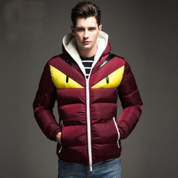 Wholesale Collar Hood - Devils eyes hood down jackets for men fashion long sleeve brand jackets for men casual new tide men down parkas free shipping