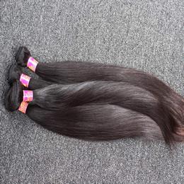 Armadura de cabelo de 26 peças on-line-8 ~ 30 polegadas Não Transformados Cabelo Indiano Tece 100% Trama Do Cabelo Humano Em Linha Reta de Seda 2 Peças Natural Preto Cor Feixes de Cabelo Frete Grátis