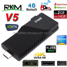 Wholesale Android Tv Xbmc Quad Core - RKM V5 Android 4.4 RK3288 Quad Core Smart TV Box Dongle XBMC 2G 16G 4K*2K Miracast DLNA Bluetooth 4.0 2.4 5GHz Dual Band Wifi OTG Mini PC