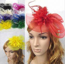 Wholesale Womens Hair Flowers - Womens Wedding Lace Headbands Hair Decor Elegant Bride Flower Hair Band Feather Mesh Wedding Tulle Hair Accessories 11 bright colors WHA61