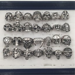 Wholesale Wholesale Animal Skulls - 100pcs lot Gothic Big Skull Ring Man Imitation Stainless Steel Bohemian Punk Vintage Jewelry 2015 Religion Statement Rings for Men size 7-12