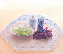 Wholesale Wholesale Table Umbrellas - 3 pcs Random Color Food Covers Umbrella Style Anti Fly Mosquito Kitchen Tools Meal Cover Hexagon Gauze Table Food Cover
