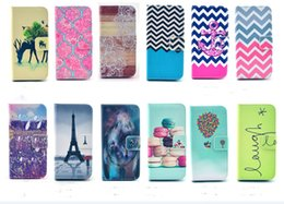 Wholesale Tribal Cases Design - 2015 Owl Eiffel Tower Flower Tribal balloon Design Case For Iphone 6 6s 6s plus Wallet Stand Style Flip Cover Bags with card