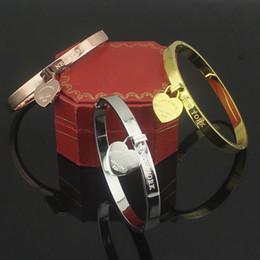 Wholesale Single Boxed Rose - Titanium steel charms bracelets single peach heart buckle bracelet rose gold heart-shaped Women Bracelets Bangle Brazaletes Pulseras