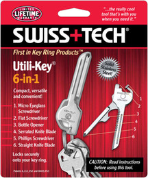 Wholesale Fold Cars - New SWISS+TECH 6 In 1 Utili-Key Mini Multitool Keyring Pocket Knife Folding Knife 5pcs A087