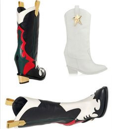 Wholesale Show Low Heel - Fashion boots 2017 new European station star with the Department of leather shoes low-heeled show style wild women's boots