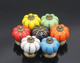 Wholesale Wholesale Decorative Drawer Knobs - 5pcs   lot Furniture Drawer Handles Decorative Pumpkin Ceramic Door Cabinet Knobs Pull Cupboard Handle with Screw Mix Color