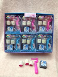 Wholesale Stamp Educational - Box 18sets lot Frozen stamper set Snow Queen Elsa Figures Seal Seal stamp And Ink Pad Educational toys Children roller seal