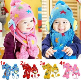 Wholesale Baby Owl Gloves - Wholesale-2015 new Pentagram owl boys Knitted hats winter 2 pcs baby girl scarf hat set Age for 1-4 Years Old