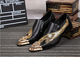 Wholesale Gold Glitter Wedges - New Handmade Shoes Men Bling Bling Glitter Dress Shoes Fashion Genuine Leather Slip-On Wedding Shoes Plus Size 38-46