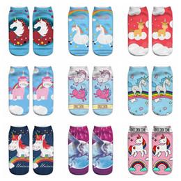 Wholesale Idea Pattern - 45 patterns Toddlers and Teenagers Unicorn Socks One Side Prints Magical Unicorn Ankle Socks Floor Socks for Home Casual Unicornio Gift Idea