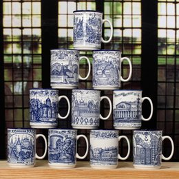 Wholesale Zakka Mugs - 1pcs mug coffee cup blue and white porcelain tea cup drawing cups and mugs zakka free shipping 2J160