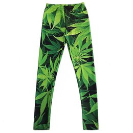 Wholesale Leggings Size L - 2017 NEW 3255 Green Plant Maple Leaf Prints Sexy Girl Pencil Yoga Pants GYM Fitness Workout Polyester Women Leggings Plus Size