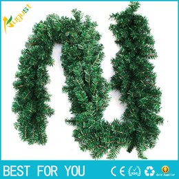 Wholesale Wholesale Artificial Xmas Trees - New hot 2.7m (9ft) Artificial Green Wreaths Christmas Garland Fireplace Wreath for Xmas New Year Tree Home Party Decoration