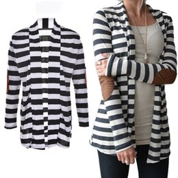 Wholesale Elbow Patches Sweater Woman - Wholesale- Black and White Striped Elbow Patching PU Leather Long Sleeve Knitted Cardigan Slim Spring Autumn Women Sweater