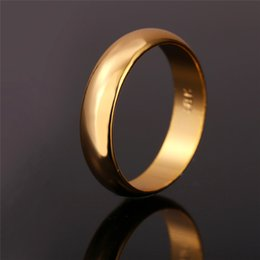 Wholesale Stamped Rings - Rings With 18K Stamp Quality 18K Real Gold Plated Women Men Jewelry Free Shipping Classic Wedding Band Rings R102