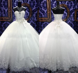 Wholesale Swarovski Beaded Wedding Dresses - 2016 Zuhair Murad New Wedding Dresses Bridal Gowns With Ball Gown SWAROVSKI Luxury Crystals Sweep Train Beaded White Or Ivory Lace-up