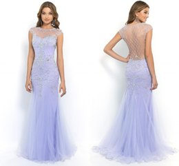 Wholesale Sexy See Through Bateau Mermaid - 2017 Lavender Long Evening Dresses Mermaid Sexy See Through Sheer Prom Dresses Beaded Sequined Top Cheap Tulle Formal Red Carpet Gowns Gala