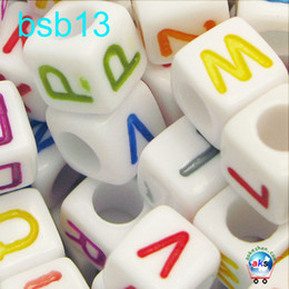 Wholesale Plastic Beads Alphabets - 250 Assorted Color in white Alphabet Letter Acrylic Cube Pony Beads 6*6mm