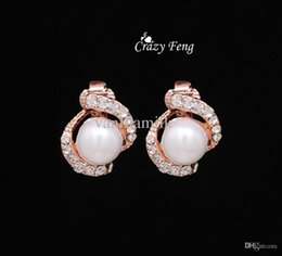 Wholesale Costume Clip Earrings Wholesale - Wholesale-Free Shipping Rose Gold Plated Earrings High Quality Pearl Clip On Earring Fashion Costume Jewelry Earing for Women