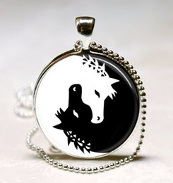 Wholesale Yin Yang Wholesale - Horse Necklace Yin Yang Jewelry Black and White Animal Art Pendant