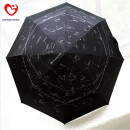 Wholesale Umbrella Big Size - Wholesale-Galaxy Constellation Style 3 Fold Automatic Women Men Sun Uv Protection Black Large Rain Umbrellas For Sale Big Size Parasol
