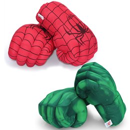 Wholesale Spider Man Gloves - 1pair 13'' 33cm Incredible Hulk Smash Hands or Spider Man Plush Gloves Performing Props Toys Free Shipping