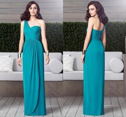Wholesale Dessy Bridesmaids Dresses Navy Blue - 2016 Turquoise Dessy Bridesmaid Dresses Chiffon One Shoulder Pleats Open Back Sheath Floor Length Long Prom Dresses for Wedding Party