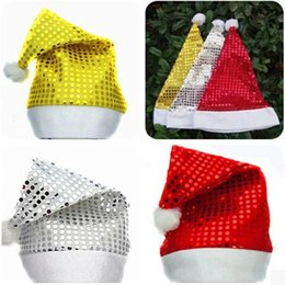 Wholesale Hats Christmas Sequins - Christmas decorations Santa Claus hat Sequin Gold silver and red color Christmas hat Christmas supplies