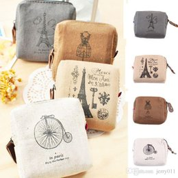Wholesale Drop Ship Wallet - Classic Retro Canvas Tower Wallet Card Key Coin Purse Bag Pouch Case 4 Patterns Drop Shipping BG-0460