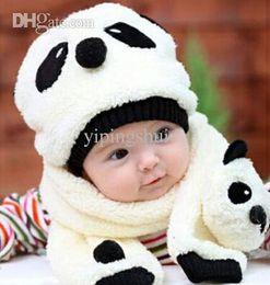 Wholesale Children Fleece Hat Scarf Wholesale - Wholesale-GR Jewelry Hot Sale Winter Panda Children Scarf Hat Set For Baby Boys Girls Fleece kids Hats & Caps