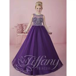 Bola púrpura vestidos de fiesta online-2018 recién llegado Scoop escote Niñas Vestidos del desfile de la gasa Deep Purple primera comunión vestido vestido de fiesta vestido de fiesta para niños C60