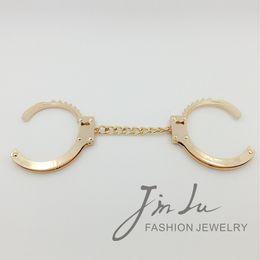 Wholesale Double Handcuffs - Wholesale-Punk Trendy Handcuff Jewelry Design Double Handcuff Bracelet Cuff Bracelets Bangles Gold Bracelet For Women Jin Lu Jewelry