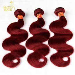 Wholesale Red Weave Extensions - Burgundy Brazilian Virgin Hair Weaves Bundles Wine Red 99J Brazilian Virgin Hair Body Wave 3Pcs Tangle Free Remy Human Hair Extensions Weft