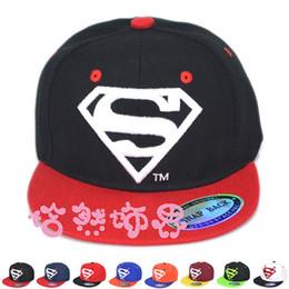 Wholesale Hat Child Supermen - 2015 hot sale children superman superhero printing baseball cap Fashion Kids Summer Snapback Sun Caps Baby Hip-hop Hats & Caps children Caps