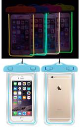 Caso de nota led online-Funda impermeable transparente universal claro LED Funda impermeable a prueba de agua Funda impermeable para iPhone 5S 6 más Galaxy S6 edge Nota 4