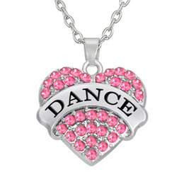 Wholesale Wholesale Rhinestone Crystal Charms - Hot Sale Rhodium Plated Message Pendant Zinc Alloy Alphabet DANCE Rhinestone Heart Charm Necklaces Jewelry Wholesale