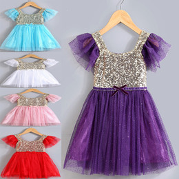 Wholesale Girls New Cotton Frocks - 2016 Summer New Arrival Children Dresses Girl Sparkly Sequin Dress With 5 Colors Cute Baby Girl Lace Tutu Princess Dress Kids Summer Frocks