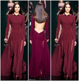 Wholesale Elie Saab Open Back - Elie Saab 2016 New Pageant Runway Dresses Backless Long Sleeve Elegant Prom Dress Sexy Party Gowns Open Back Vestidos Evening Gowns Cheap