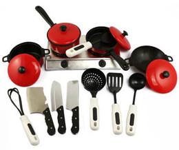 Wholesale Baby Utensils - Wholesale-13 pcs set plastics red simulation kitchen utensils baby toys kitchen toys free shipping