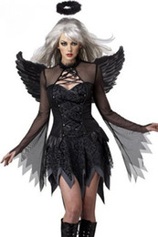 Wholesale Adult Party Wings - New Women Sexy Dark Angel Costume Adult Halloween Cosplay Party Raven Black Fallen Angel Fancy Dress Costume with Halo & Wing S8845