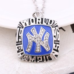 Wholesale Baseball Rhinestone Jewelry Necklaces - Vintage Crystal Necklace 1996 Yankees Baseball Team Champion Necklace for Women Men Jewelry free shipping N363