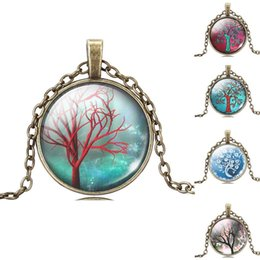 Wholesale Vintage Antique Tree Pendant - Fashion Women Men Christmas Gifts Vintage Glass Cabochon Family Life Tree Necklace , Antique Bronze Pendant Chain Necklace