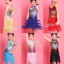 Wholesale Latin Dresses For Children - High Quality Children Kids Sequin Fringe Performance Ballroom Dance Costume Latin Dance Dress For Girls + Collar + Arm Chain