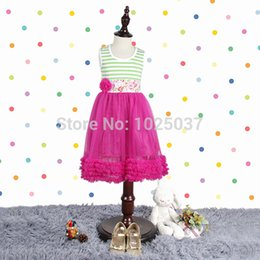 Wholesale Hot Pink Stripe Dress - Wholesale-Green White Stripes Cotton Top Dresses Pants In Sets Baby Girls Chiffon Outfits WIth Hot Pink Ruffle Free Shipping